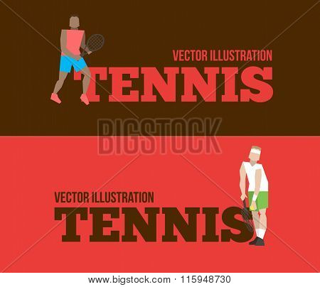 Tennis Figure Peoples With Tennis Racket Set.