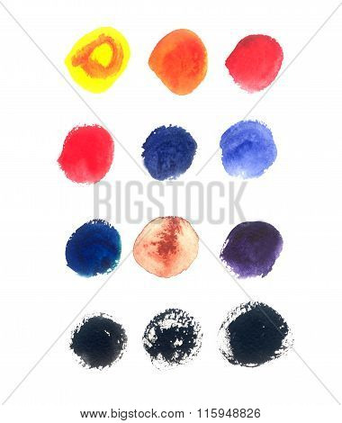 Set Of Round Watercolor Stains On White Background