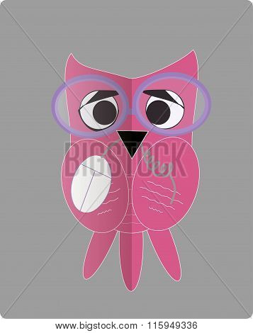 Icon, pink owls, the computer mouse holds in beak, purple glasses