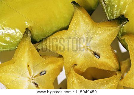 delicious carambola asian exotic fruit on white background isola