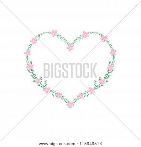 Pink Yarrow Flowers In A Heart Shape Frame