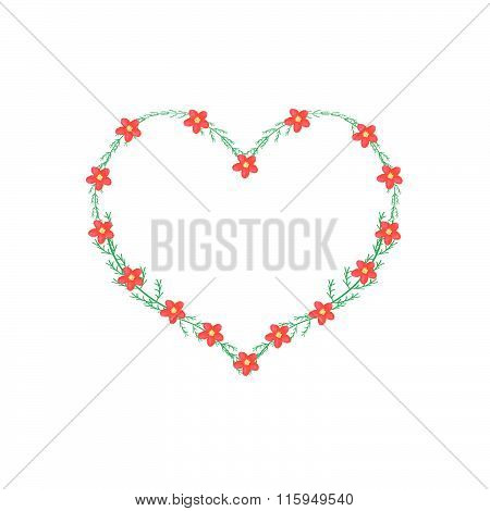Red Yarrow Flowers In A Heart Shape Frame