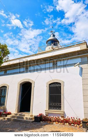 Tossa de Mar Lighthouse far in Costa Brava of Girona at Cataloni Spain