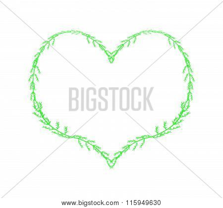 Fresh Green Leaves Forming In A Heart Shape