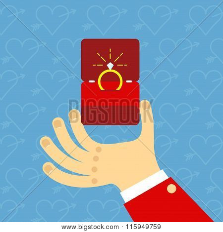 Male Hands Holding Engagement Ring In Flat Style. For Valentine Day Greeting Card. Vector Illustrati