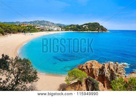 Platja Fenals Fanals Beach in Lloret de Mar at Costa Brava of Catalonia Girona Spain