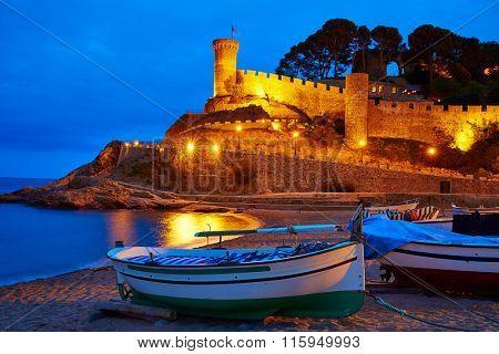 Tossa de Mar sunset in Costa Brava of Catalonia spain Castle and beach