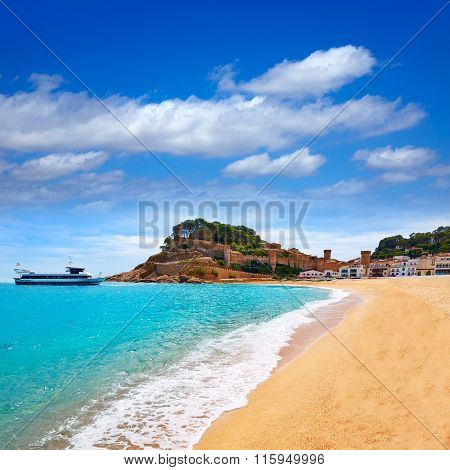 Tossa de Mar beach in Costa Brava of Catalonia Spain Platja Gran playa