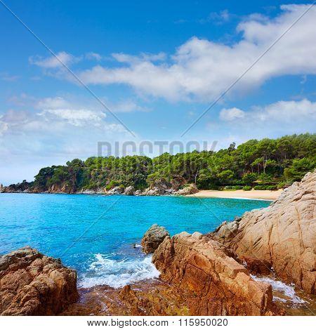 Cala Treumal beach in Lloret de Mar at Costa Brava of Catalonia spaion