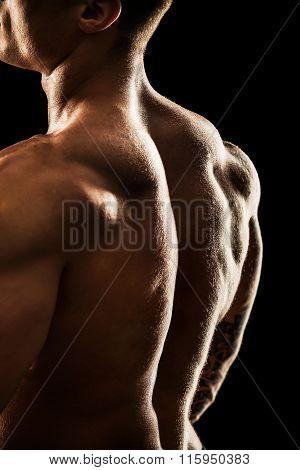 Bodybuilder Posing. Beautiful Sporty Guy Male Power. Fitness Muscular Body.