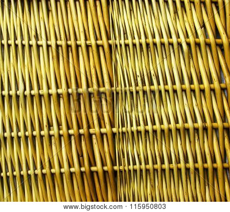 Yellow Woven Wicker Cane, Abstract Background Texture.