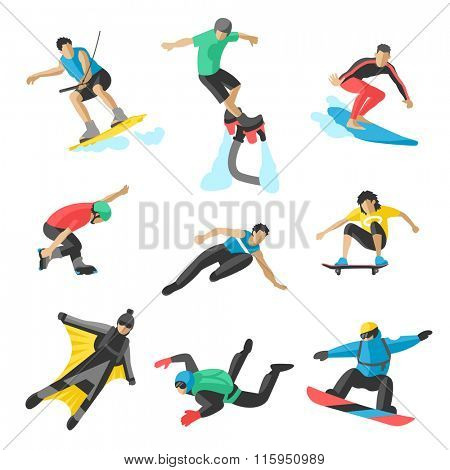 Extreme sport vector people. Parasailing, wakeboard, snowboard, rocker, snowboards, flybord, parkour, extreme, flying, man, bat, acrobatics, aerial, skysurfing, wingsuit extreme sport