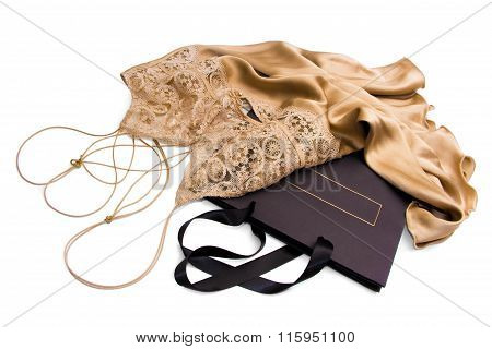 Luxury Gold satin silk negligee with shopping bag
