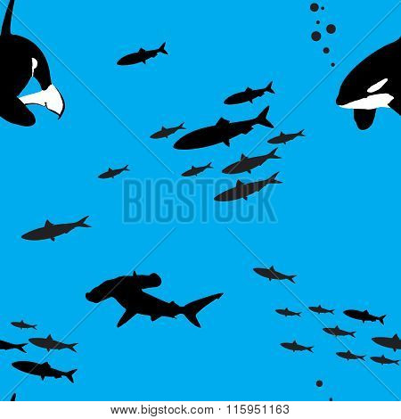 Seamless vector pattern with sea creatures