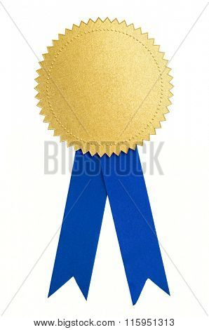 Gold seal or medal and blue ribbon isolated