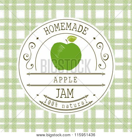 Jam Label Design Template. For Apple Dessert Product With Hand Drawn Sketched Fruit And Background.