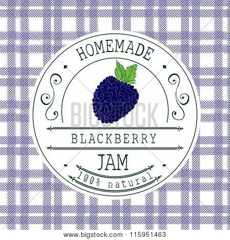Jam Label Design Template. For Blackberry Dessert Product With Hand Drawn Sketched Fruit And Backgro