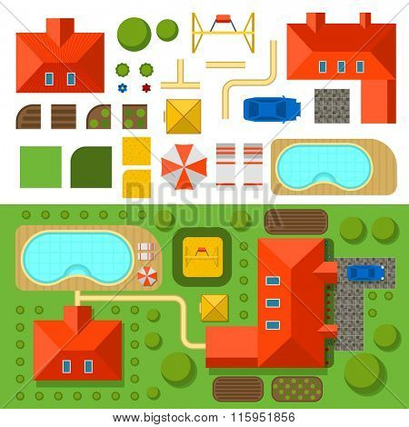 Plan of private house with garden, pool and car vector illustration. Top view of outdoor house. Landscape. Villa house top map. Constructor design elements vector. Game background elements