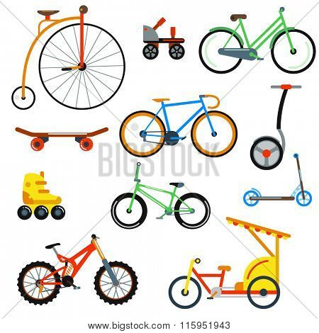 Bicycle flat style isolated on white background vector illustration. Different bicycle collection. Street bicycle, mountain bicycle, fast road bicycle. Sport and everyday eco friendly transport