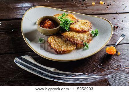 potato pancakes with caviar