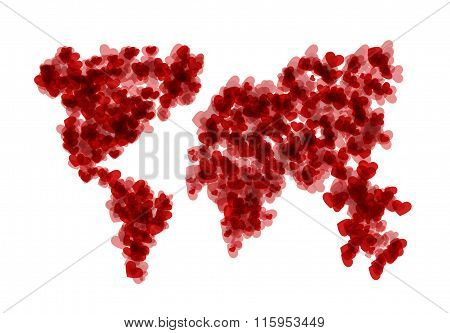 vector modern concept hearts with map on white