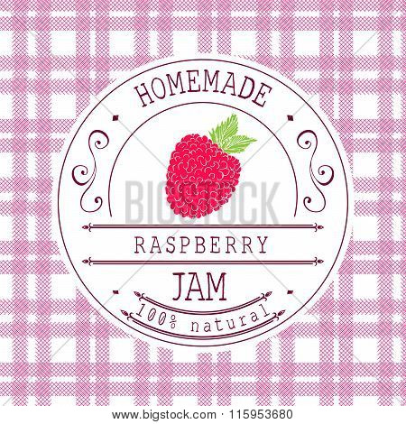 Jam Label Design Template. For Raspberry Dessert Product With Hand Drawn Sketched Fruit And Backgrou