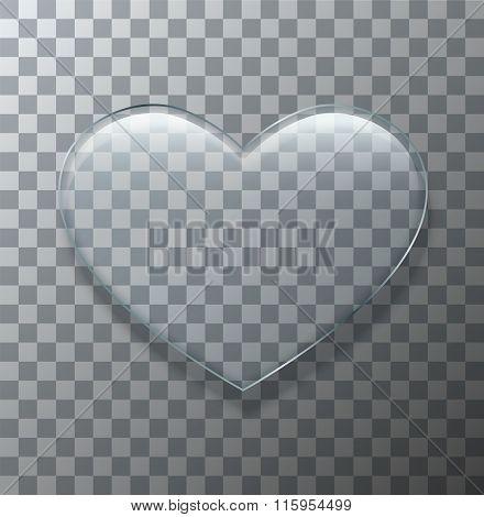Vector modern glass heart on sample background.