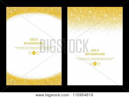 Vector banners and cards gold sparkles on black background. Gold background text. Banners voucher store present shopping sale logo web card vip exclusive certificate gift luxury privilege.
