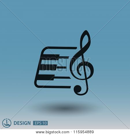 Pictograph of music key and keyboard