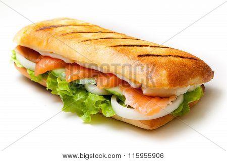 Salmon pannini sandwich