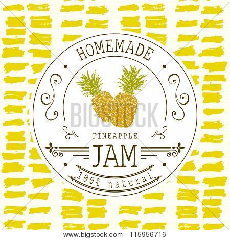 Jam Label Design Template. For Pineapple Dessert Product With Hand Drawn Sketched Fruit And Backgrou