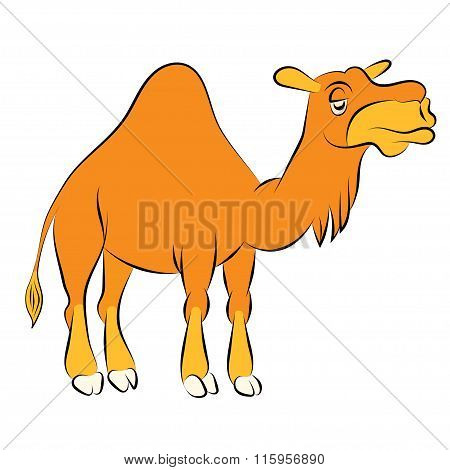 Illustration Of The Chewing Orange Camel With One Hump