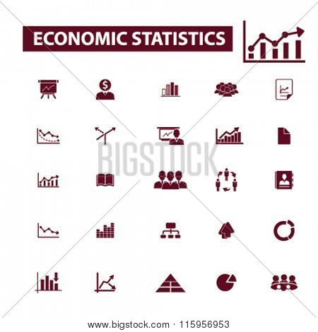 economic statistics, analytics  icons, signs vector concept set for infographics, mobile, website, application