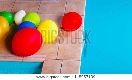 Colorful Balloons At Hotel Swimming Pool