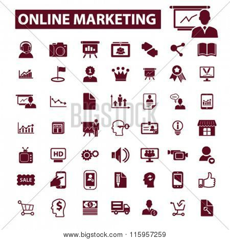 online marketing, digital advertising, marketing research, marketing plan, video, image, brainstorm  icons, signs vector concept set for infographics, mobile, website, application