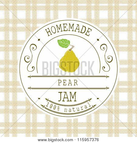 Jam Label Design Template. For Pear Dessert Product With Hand Drawn Sketched Fruit And Background. D