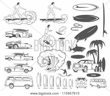 Vector Set Elements Of Surfing And Extreme Sports