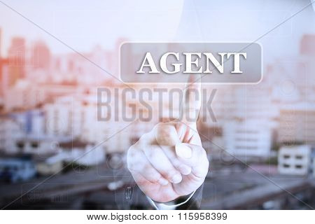 Businessman hand touch screen graph on AGENT.