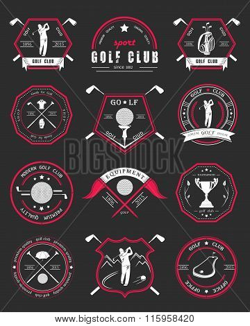 Vector Set Of Logos And Icons Golf Clubs