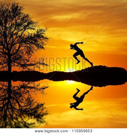 running along the lake