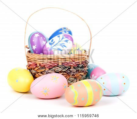 Decorated Easter Eggs And Basket