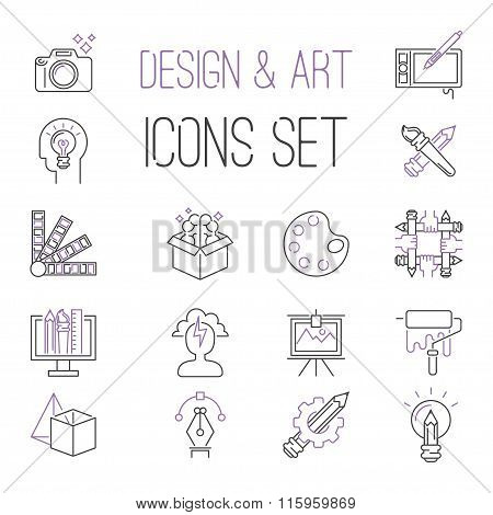 Graphic design sign vector icons thin outline style