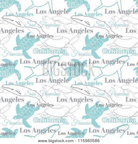 Vector Light California Cities Animals Travel Seamless Pattern with Los Angeles, San Francisco, Turt