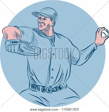Baseball Pitcher Throwing Ball Circle Drawing