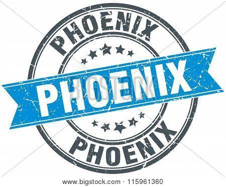 Phoenix blue round grunge vintage ribbon stamp