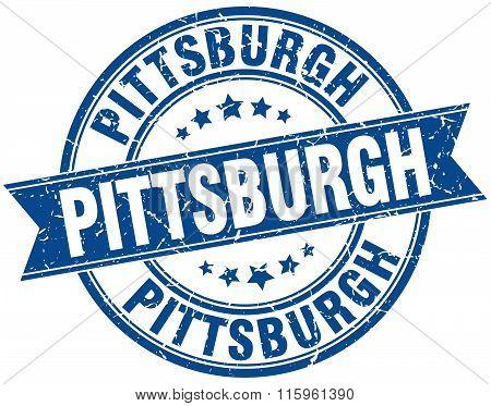 Pittsburgh blue round grunge vintage ribbon stamp