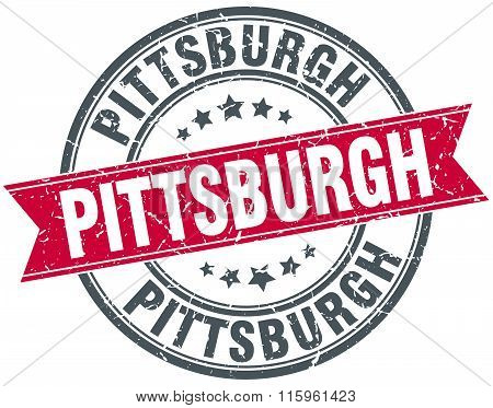 Pittsburgh red round grunge vintage ribbon stamp