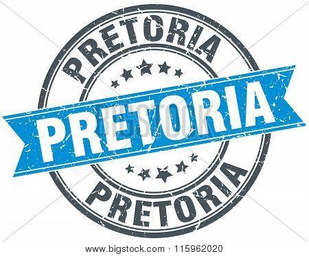 Pretoria blue round grunge vintage ribbon stamp