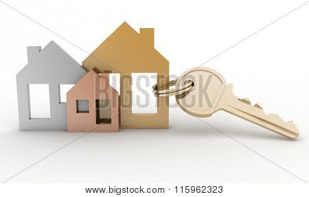 3d model house symbol set and key