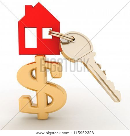 The house with a key on a dollar sign. Concept real estate prices in the world